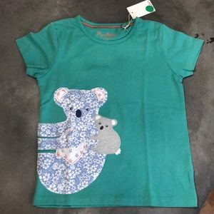 Mini Boden green tee with koala appliqué